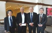 Meeting with Dr. Aizirman at the lobby of the hotel for the UEC mission, from right to left, Prof. Nakano, Prof. Fukuda, Dr. Aizirman, Prof. Takahashi
