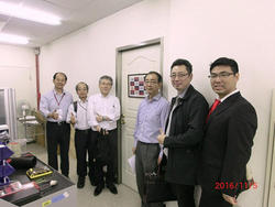 Photo 1: Dr Nakano, Professor Abe and Professor Aoyama visited TKU-UEC Global Alliance Laboratory in the Intelligent Automation and Robotics Center of TKU with Professor Ching-Chang Wong.