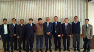 At a meeting with Prof. Fukuda, UEC President, the sixth from left to right, the first is Mr. J. Shi, the fourth is Mr. W.Y. Yang, the fifth is Dr. H.G. Do, the seventh is Dr. M.C. Tseng.